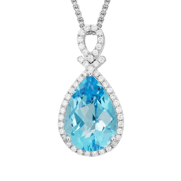 14k White Gold Blue Topaz Halo Pendant Dickinson Jewelers Dunkirk, MD