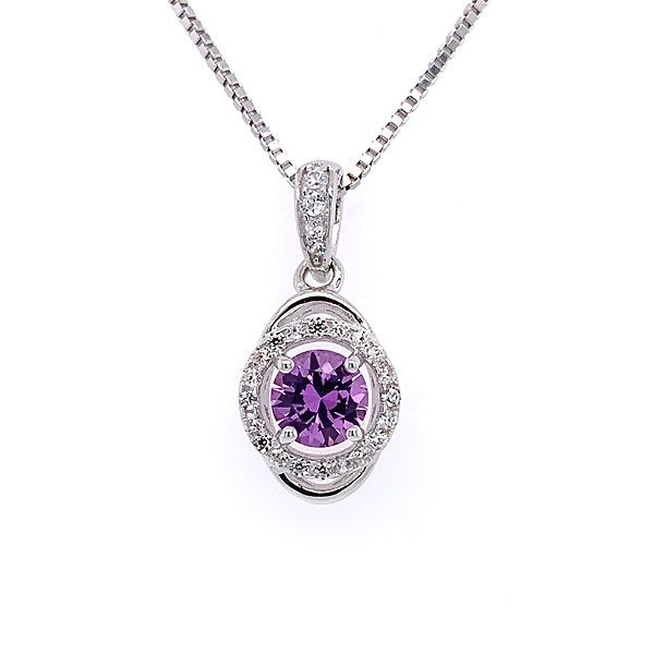 Sterling Silver Lab-Created Alexandrite Halo Pendant Dickinson Jewelers Dunkirk, MD
