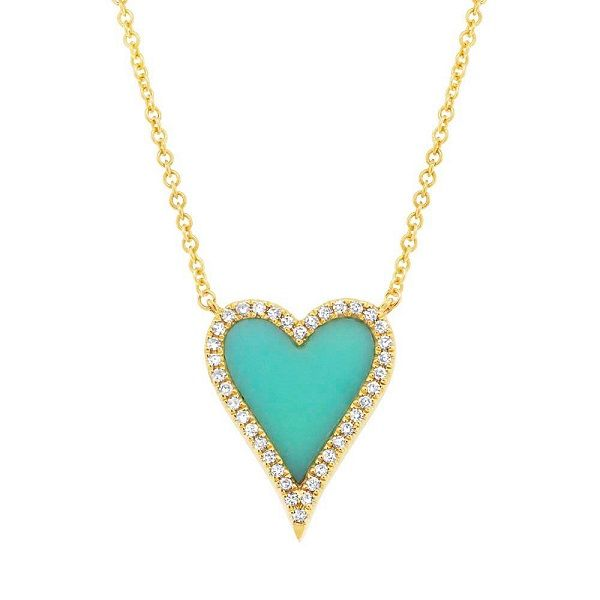 14k Yellow Gold Turquoise Heart Necklace Dickinson Jewelers Dunkirk, MD