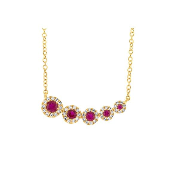 14k Yellow Gold Ruby Halo Necklace Dickinson Jewelers Dunkirk, MD