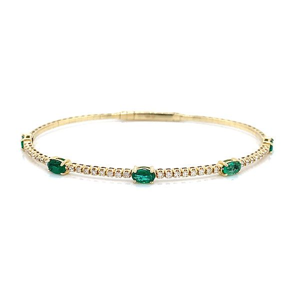 14k Yellow Gold Emerald Bangle Bracelet Dickinson Jewelers Dunkirk, MD