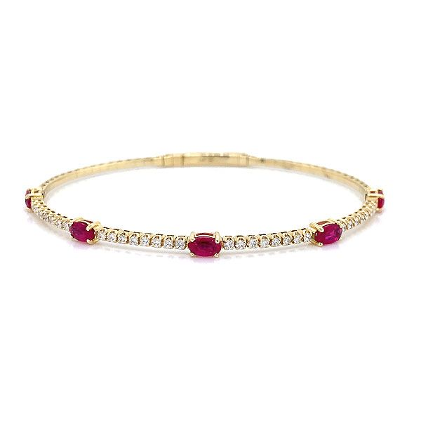 14k Yellow Gold Ruby Bangle Bracelet Dickinson Jewelers Dunkirk, MD
