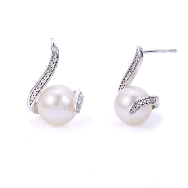 Sterling Silver Diamond Pearl Earrings Dickinson Jewelers Dunkirk, MD