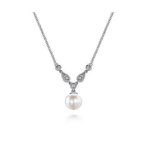 14k White Gold Pearl Drop Necklace Dickinson Jewelers Dunkirk, MD