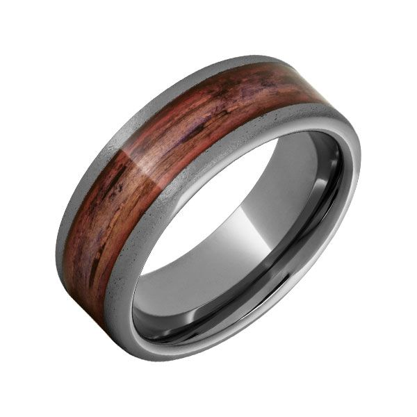 Men's Rugged Tungsten™ Flat Band With Cabernet Barrel Aged™ Inlay And Stone Finish Dickinson Jewelers Dunkirk, MD