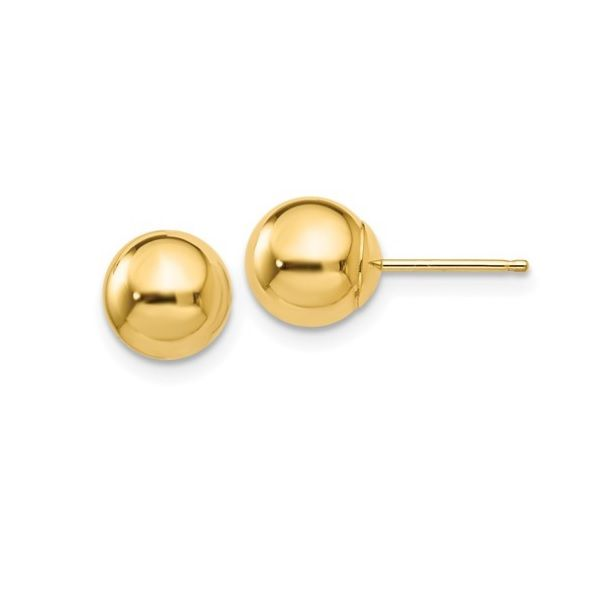14k Yellow Gold Polished 7mm Ball Post Earrings Dickinson Jewelers Dunkirk, MD