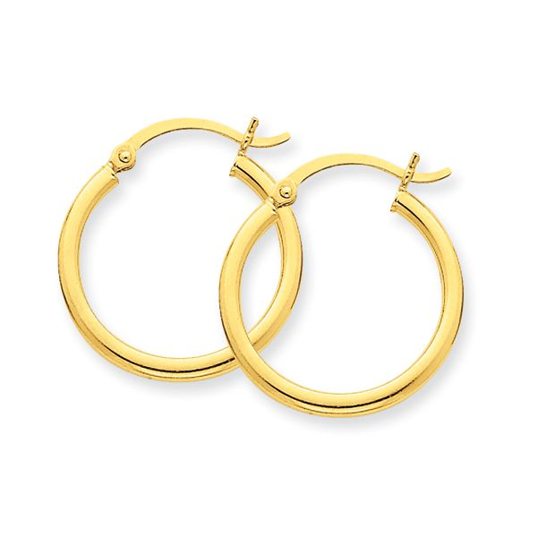 14k Yellow Gold Polished Hoop Earrings Dickinson Jewelers Dunkirk, MD