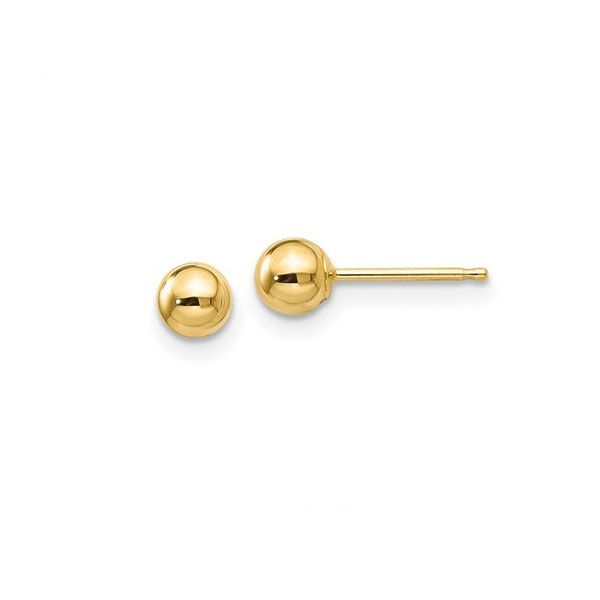 14k Yellow Gold Polished 4mm Ball Post Earrings Dickinson Jewelers Dunkirk, MD