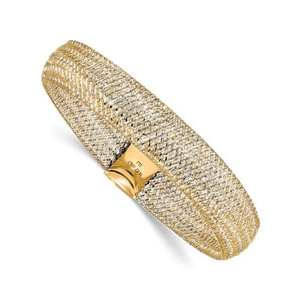 14k Two-Tone Mesh Stretch Bangle Dickinson Jewelers Dunkirk, MD