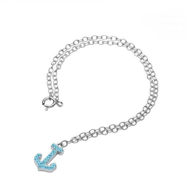 Sterling Silver And Swarovski® Crystal Anchor Anklet Dickinson Jewelers Dunkirk, MD