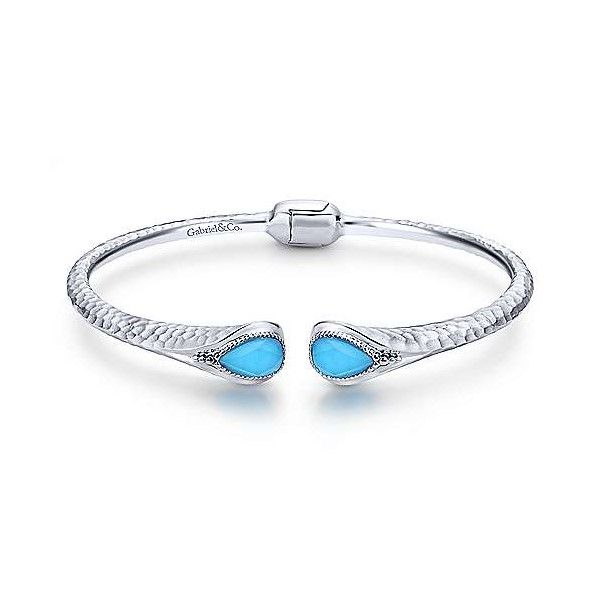 Sterling Silver Rock Crystal And Turquoise Split Bangle Dickinson Jewelers Dunkirk, MD