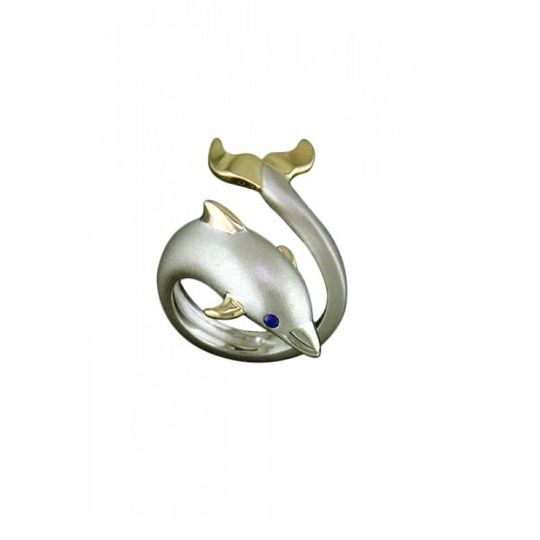 Sterling Silver And 14k Yellow Gold Dolphin Wrap Ring Dickinson Jewelers Dunkirk, MD