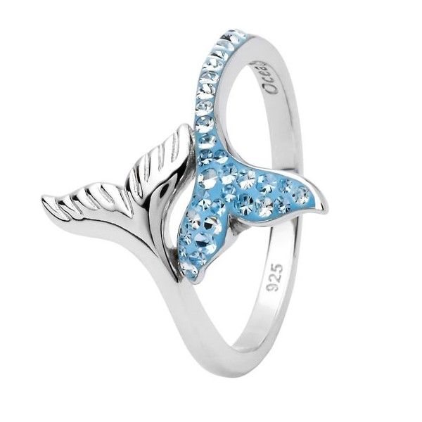 Sterling Silver And Swarovski® Crystal Whale Tail Ring - Sz 8 Dickinson Jewelers Dunkirk, MD
