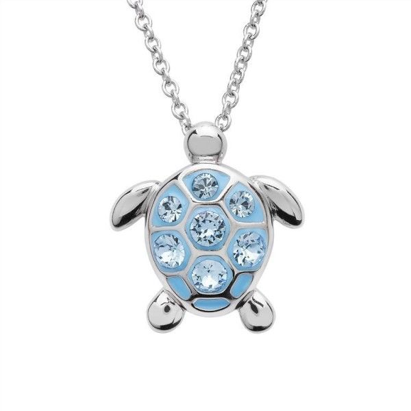 Sea Turtle Necklace With Aqua Swarovski® Crystals – Medium Size Dickinson Jewelers Dunkirk, MD