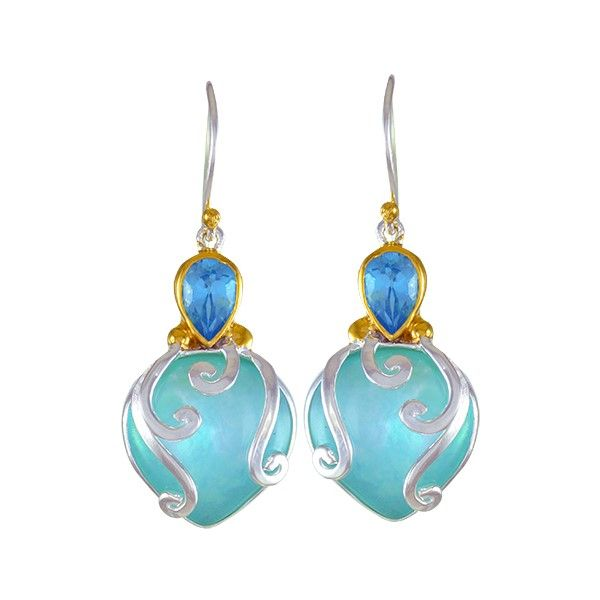 Sterling Silver Amazonite, Blue Topaz, Quartz And MOP Sea Life Earrings Dickinson Jewelers Dunkirk, MD