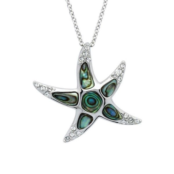Sterling Silver And Swarovski® Crystal Abalone Starfish Pendant Dickinson Jewelers Dunkirk, MD