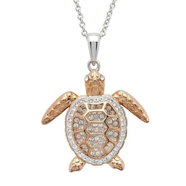 Sterling Silver And Swarovski® Crystal Rose Gold Turtle Pendant Dickinson Jewelers Dunkirk, MD