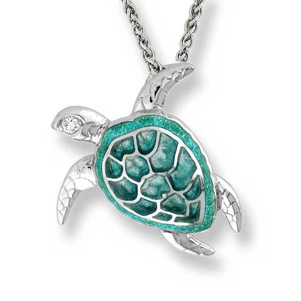Sterling Silver And  Enamel Sea Turtle Necklace Dickinson Jewelers Dunkirk, MD