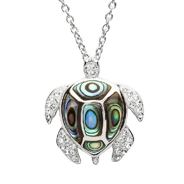 Sterling Silver And Swarovski® Crystal Turtle Pendant Dickinson Jewelers Dunkirk, MD