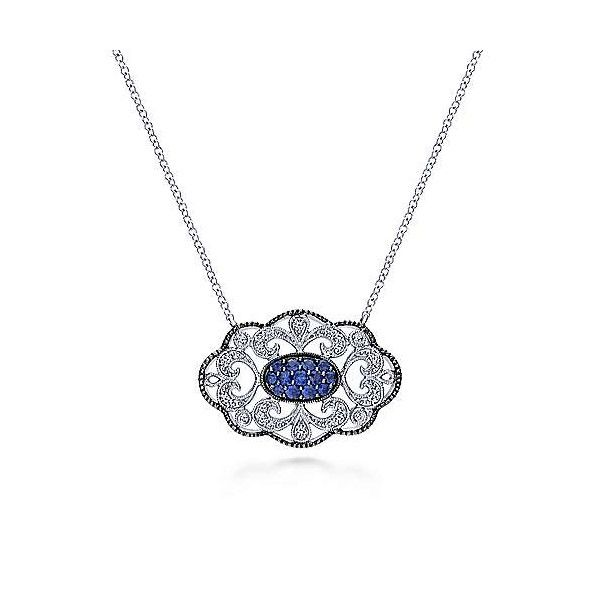 Sterling Silver Blue And White Sapphire Necklace Dickinson Jewelers Dunkirk, MD