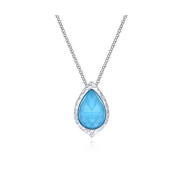 Sterling Silver Rock Crystal And Turquoise Doublet Pendant Dickinson Jewelers Dunkirk, MD