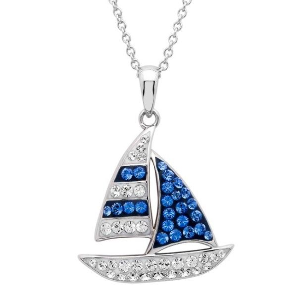 Sterling Silver And Swarovski® Crystal Sailboat Pendant Dickinson Jewelers Dunkirk, MD