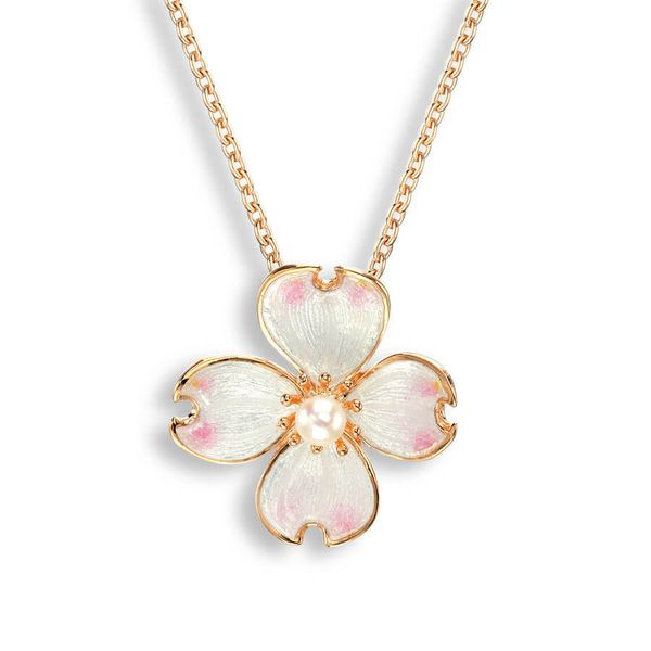 Rose Gold Plated And Enamel Dogwood Pendant Dickinson Jewelers Dunkirk, MD