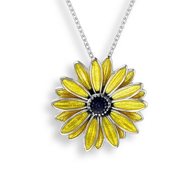 Sterling Silver and Yellow Enamel Black Eyed Susan Pendant Dickinson Jewelers Dunkirk, MD