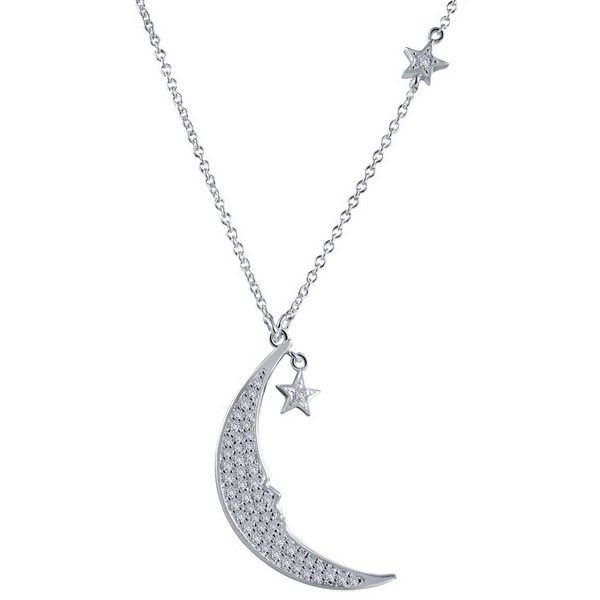 Lassaire Simulated Diamond Moon And Star Necklace Dickinson Jewelers Dunkirk, MD