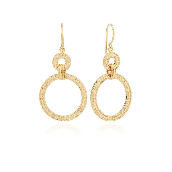 Dotted Double Hoop Dangle Earrings Dickinson Jewelers Dunkirk, MD