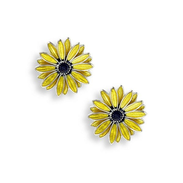 Sterling Silver and Yellow Enamel Black Eyed Susan Stud Earrings Dickinson Jewelers Dunkirk, MD