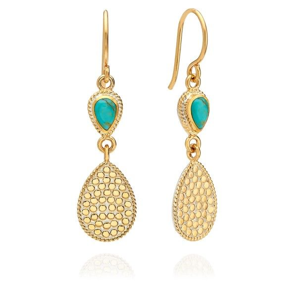 Turquoise Double Teardrop Dangle Earrings Dickinson Jewelers Dunkirk, MD