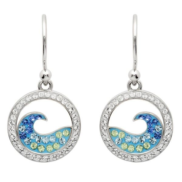 Sterling Silver And Swarovski® Crystal Blue Wave Earrings Dickinson Jewelers Dunkirk, MD
