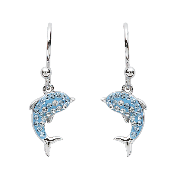 Sterling Silver And Swarovski® Crystal Dolphin Earrings Dickinson Jewelers Dunkirk, MD