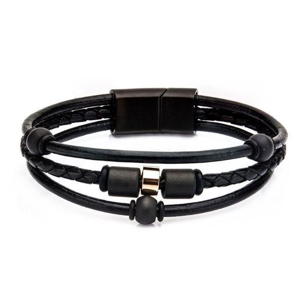 Men's Stainless Steel Carbon Graphite Beads And Black Leather Bracelet Dickinson Jewelers Dunkirk, MD