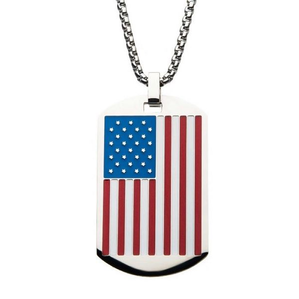 Men's American Flag Dog Tag Pendant Dickinson Jewelers Dunkirk, MD