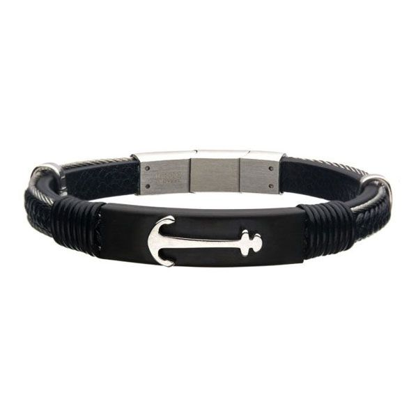 Men's Black Leather With Steel Anchor Bracelet Dickinson Jewelers Dunkirk, MD
