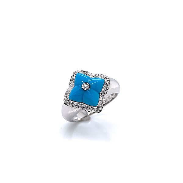 14k White Gold Reconstituted Turquoise And Diamond Ring Dickinson Jewelers Dunkirk, MD