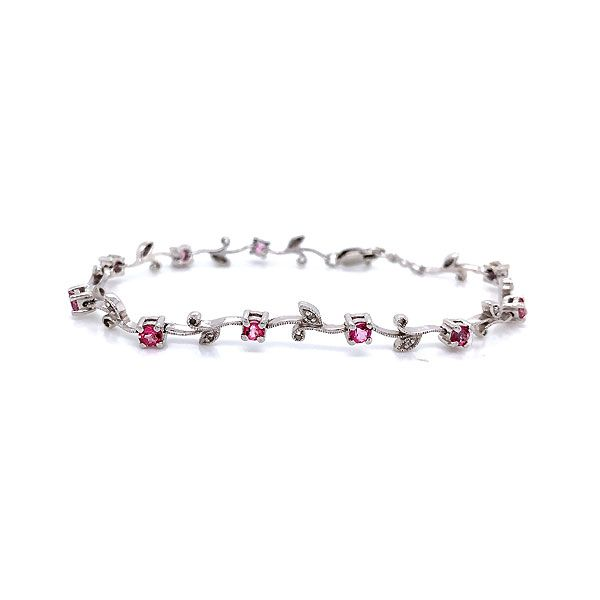 10k White Gold Diamond And Pink Topaz Bracelet Dickinson Jewelers Dunkirk, MD