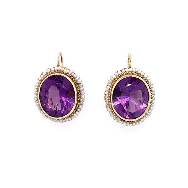 14k Yellow Gold Amethyst And Seed Pearl Earrings Dickinson Jewelers Dunkirk, MD