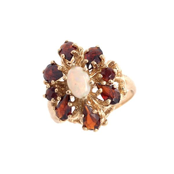 10k Yellow Gold Garnet And Opal Ring Dickinson Jewelers Dunkirk, MD