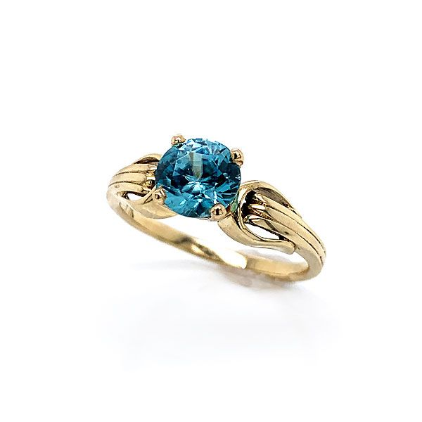 Yellow Gold Blue Zircon Ring Dickinson Jewelers Dunkirk, MD