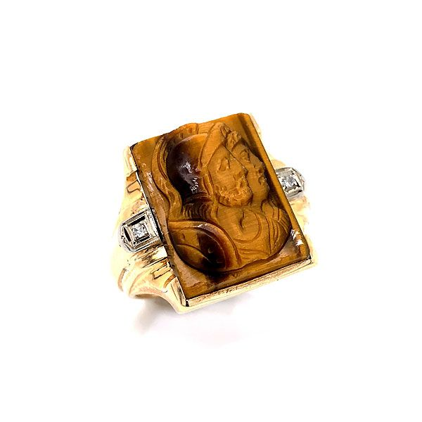 Men's 10k Yellow Gold Diamond And Tiger Eye Gladiator Ring Dickinson Jewelers Dunkirk, MD