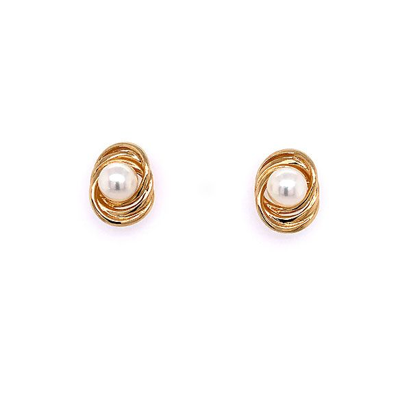 14k Yellow Gold Pearl And Triple Loop Earring Dickinson Jewelers Dunkirk, MD