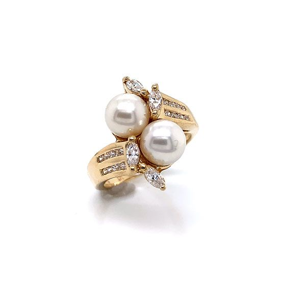 14k Yellow Gold Pearl And Cubic Zirconia Ring Dickinson Jewelers Dunkirk, MD