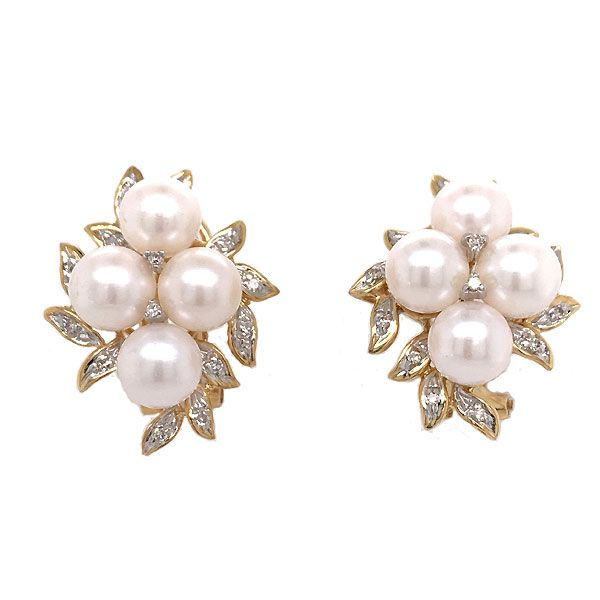14k Yellow Gold Pearl And Diamond Earrings Dickinson Jewelers Dunkirk, MD