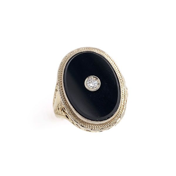 14k Yellow Gold Black Onyx And Diamond Ring Dickinson Jewelers Dunkirk, MD
