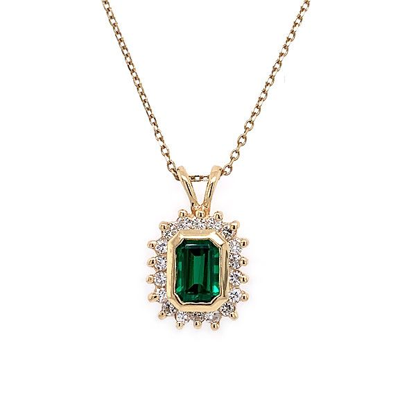 14k Yellow Gold Synthetic Emerald And Diamond Pendant Dickinson Jewelers Dunkirk, MD