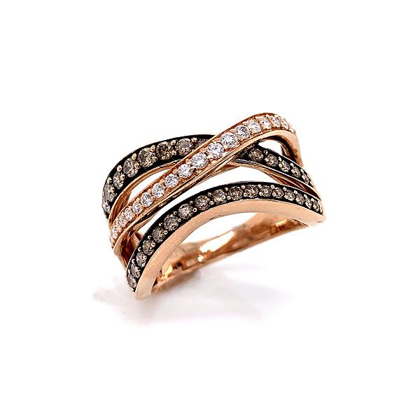 Le Vian 14k Rose Gold Chocolate And Vanilla Diamond Crossover Ring Dickinson Jewelers Dunkirk, MD