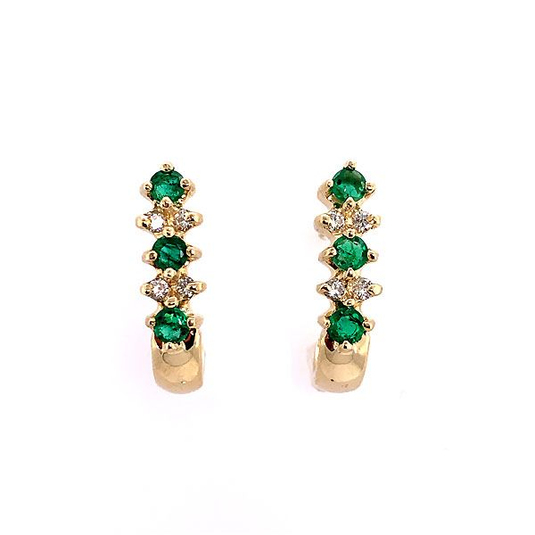 14k Yellow Gold Emerald And Diamond J-Hoop Earrings Dickinson Jewelers Dunkirk, MD